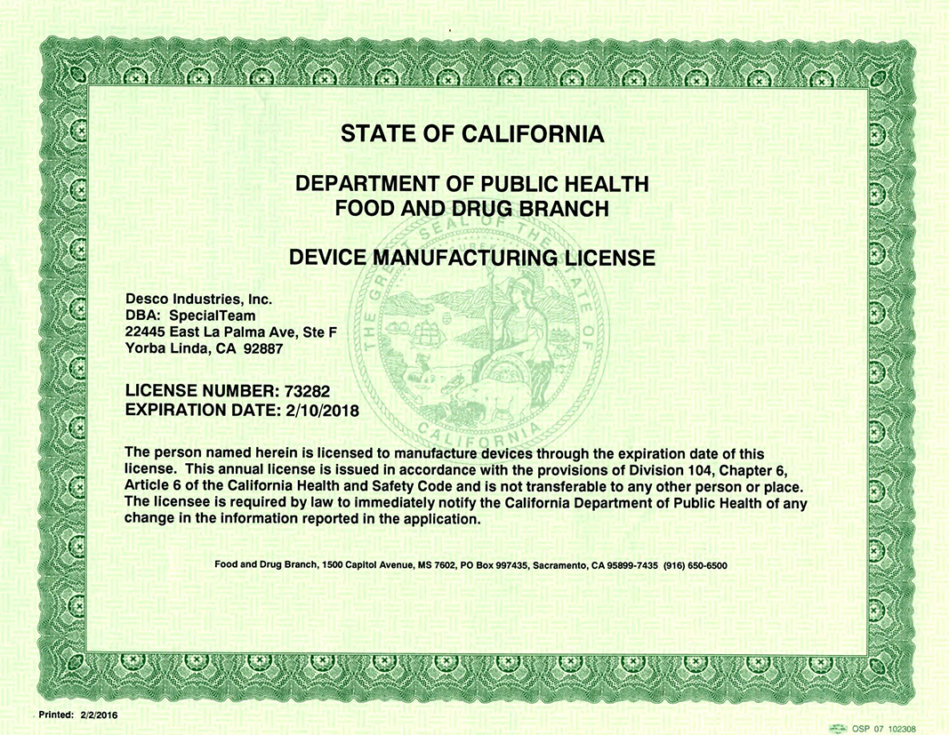 CA Device License Certification - SpecialTeam